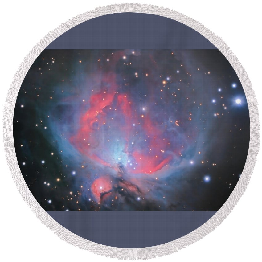 Orion Round Beach Towel featuring the photograph The Sword Of Orion by Brent Newton