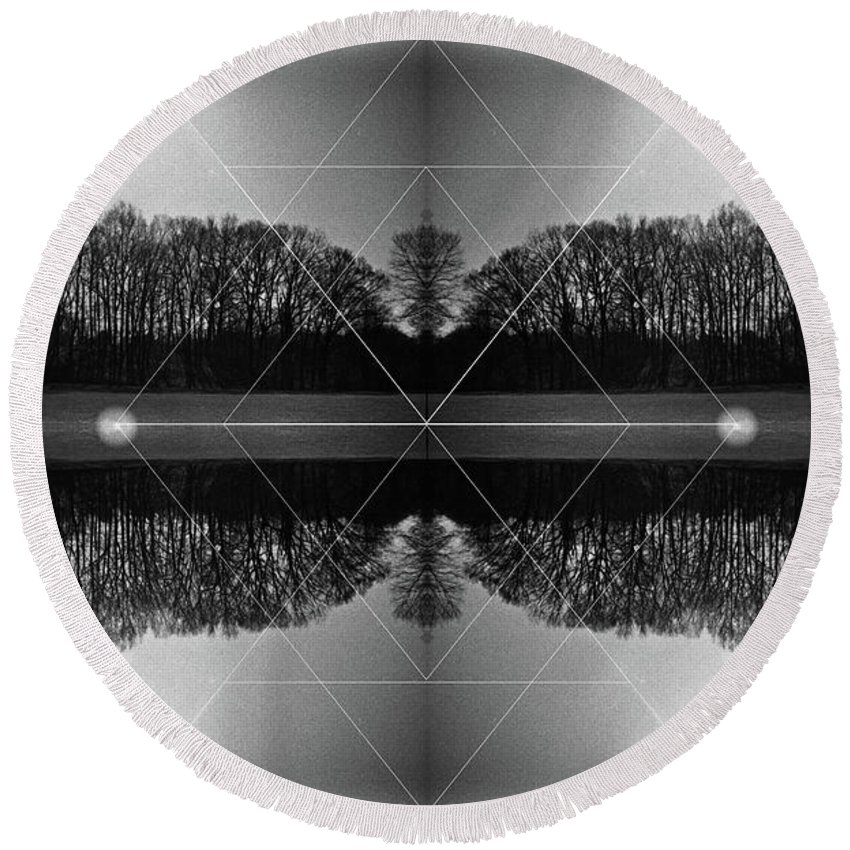 Mixed Media Photography Round Beach Towel featuring the photograph The Symmetry Of Light by Jennifer Graham