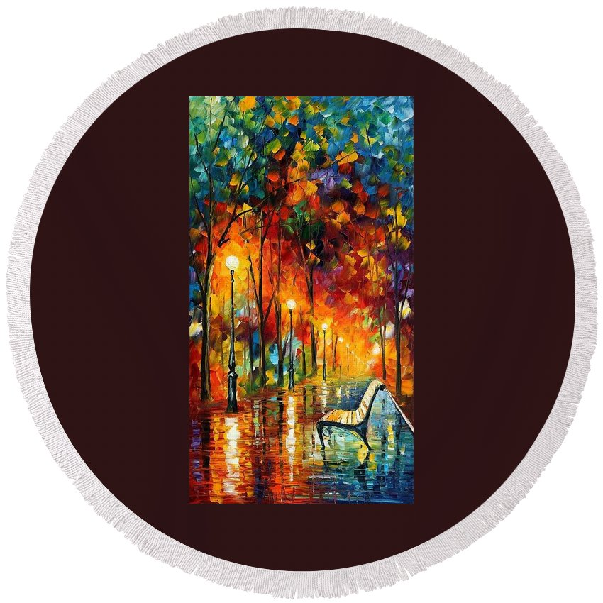 Afremov Round Beach Towel featuring the painting The Symphony Of Light by Leonid Afremov