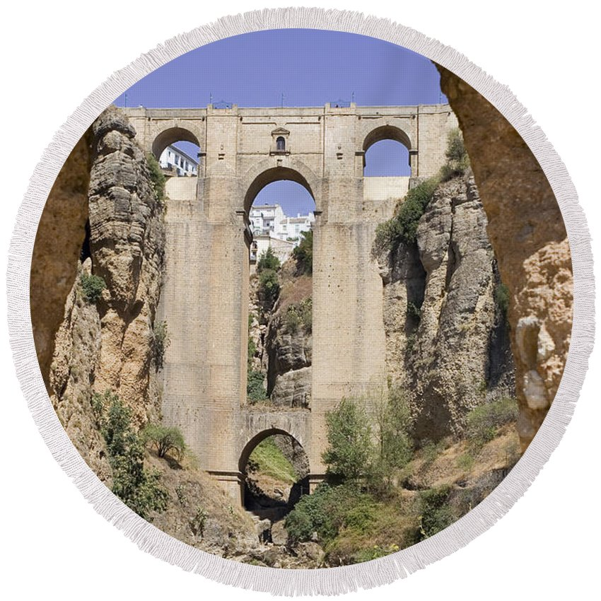 Ronda Round Beach Towel featuring the photograph The Tajo De Ronda And Puente Nuevo Bridge Andalucia Spain Europe by Mal Bray