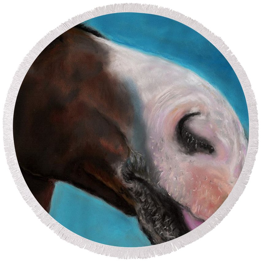 Abstract Horses Round Beach Towel featuring the painting The Tasty Post by Frances Marino