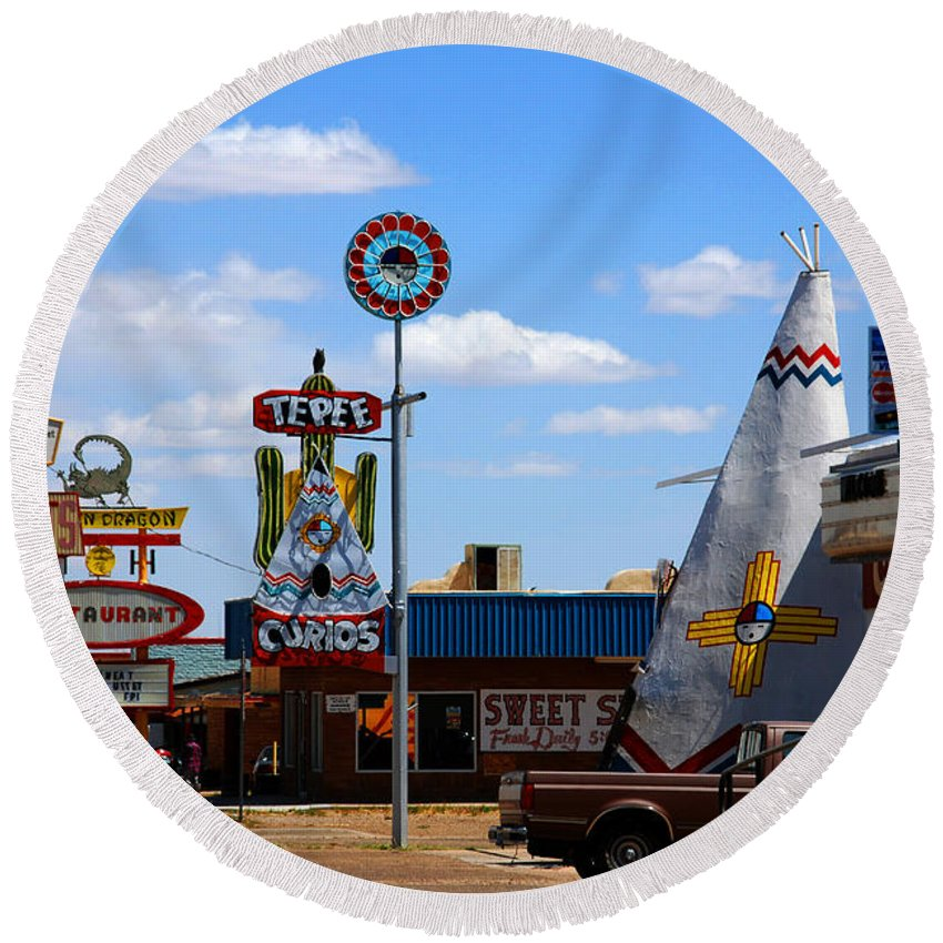 Tucumcari Round Beach Towel featuring the photograph The Tee-pee Curios On Route 66 Nm by Susanne Van Hulst