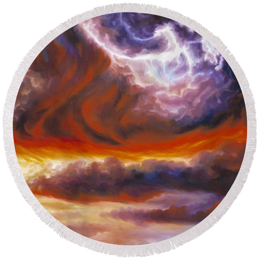 Tempest Round Beach Towel featuring the painting The Tempest by James Christopher Hill