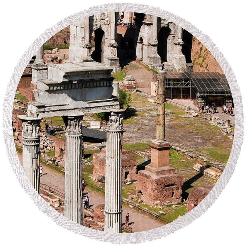 Rome Round Beach Towel featuring the photograph The Temple Of Castor And Pollux At The Forum From The Palatine by Weston Westmoreland