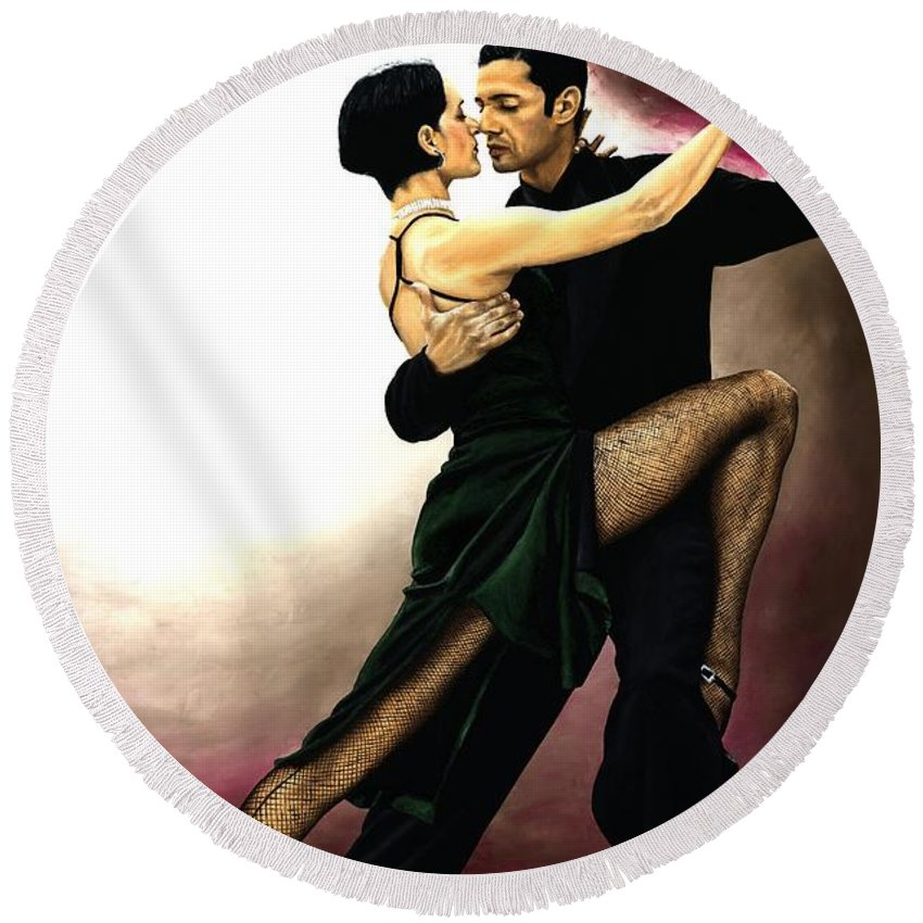 Tango Round Beach Towel featuring the painting The Temptation Of Tango by Richard Young