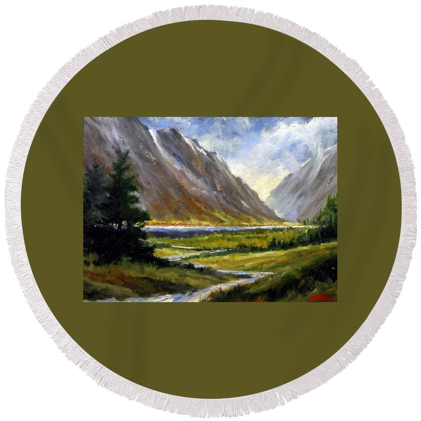 Mountains Round Beach Towel featuring the painting The Tetons 05 by Jim Gola