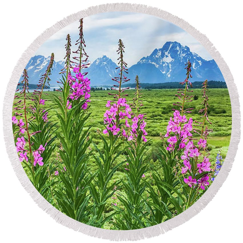Grand Tetons Round Beach Towel featuring the photograph The Tetons Are Grand by Lisa Lemmons-Powers