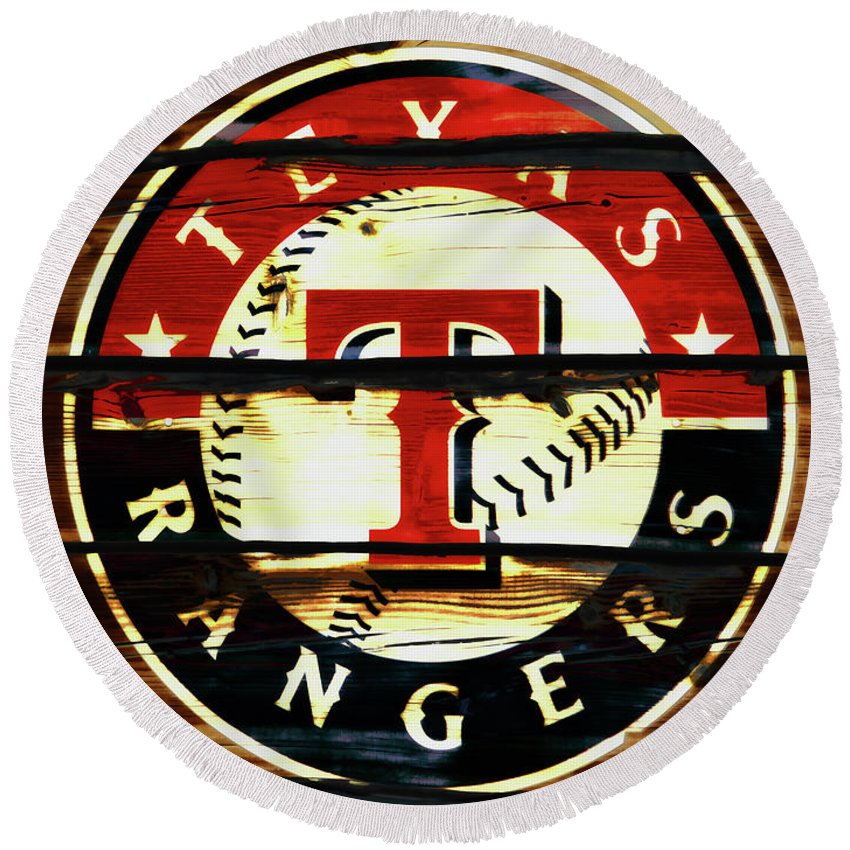Texas Rangers Round Beach Towel featuring the mixed media The Texas Rangers 2w by Brian Reaves