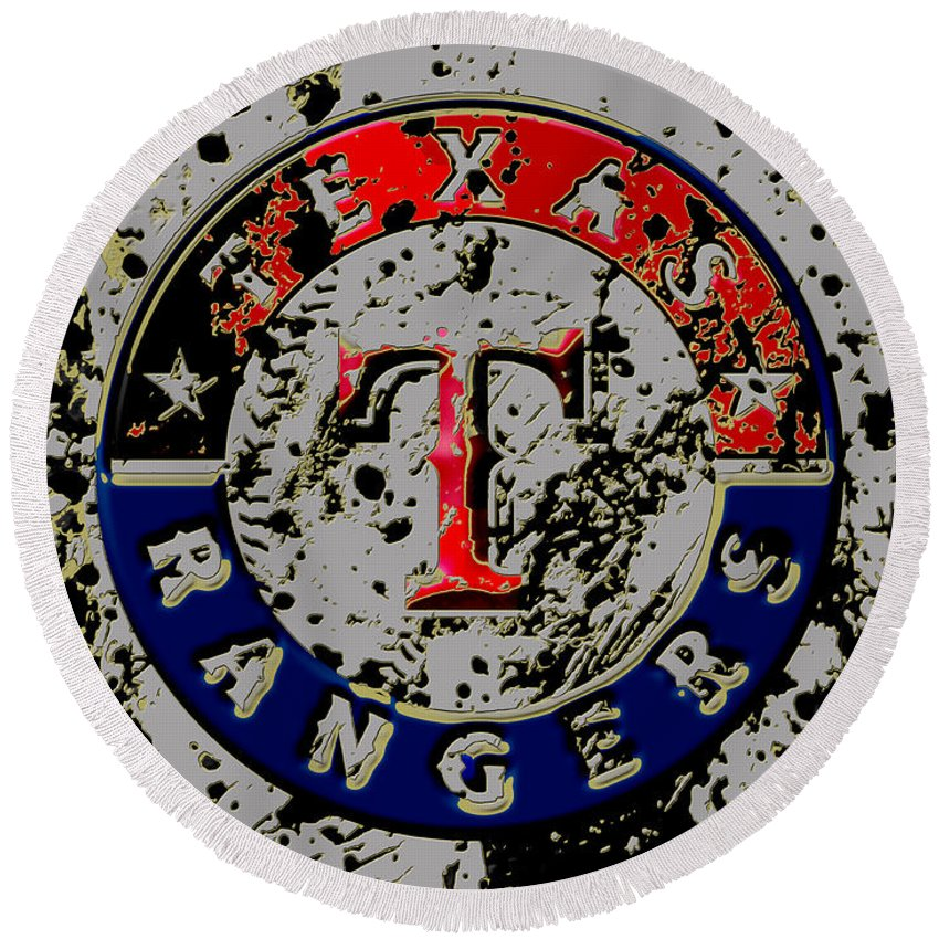 Texas Rangers Round Beach Towel featuring the mixed media The Texas Rangers 6b by Brian Reaves