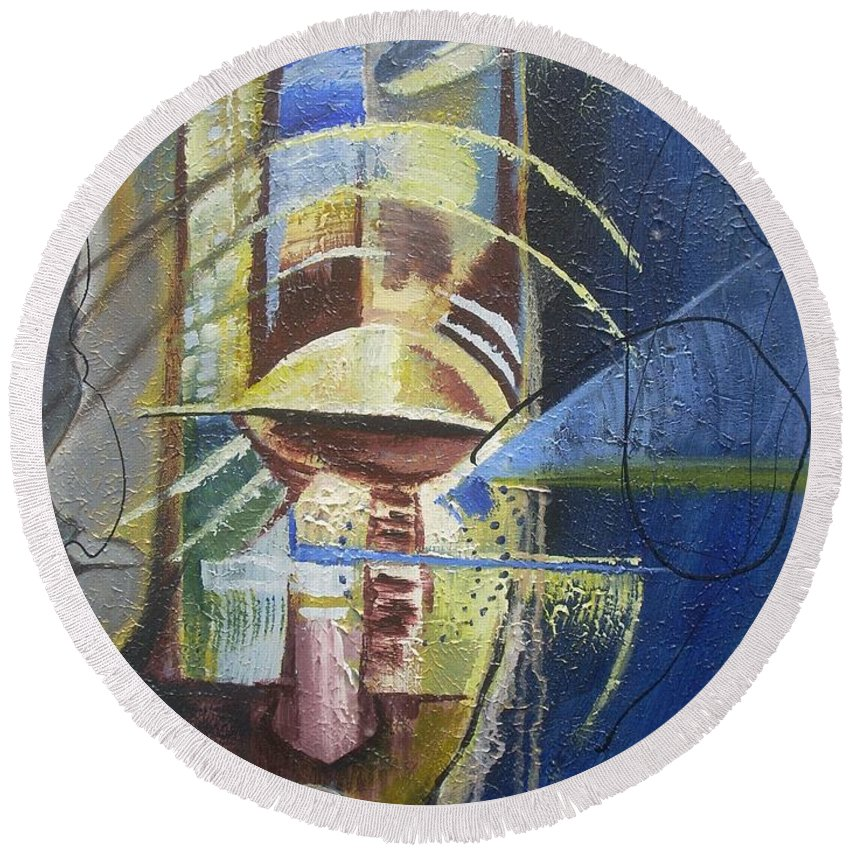African American Round Beach Towel featuring the painting The Third Eye by Hasaan Kirkland