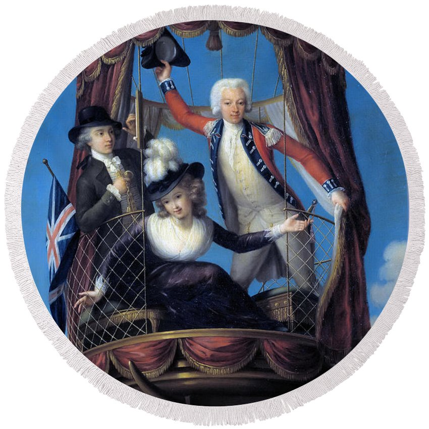 John Francis Rigaud Round Beach Towel featuring the painting The Three Favorite Air Travelers by John Francis Rigaud