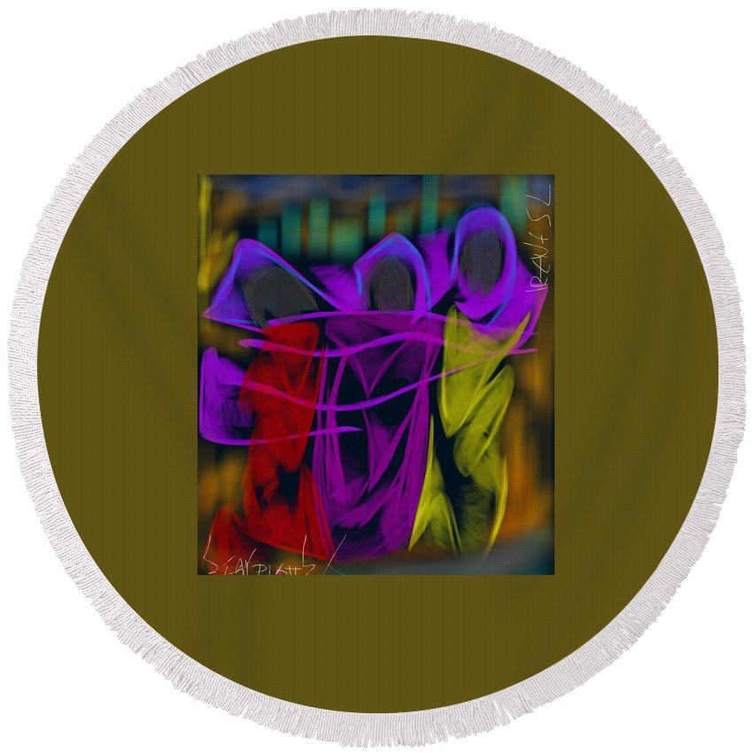 Round Beach Towel featuring the digital art The Three Graces by Christos Stavridis