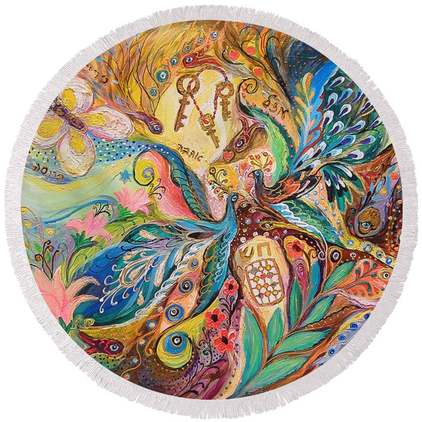 Original Round Beach Towel featuring the painting The Three Keys by Elena Kotliarker