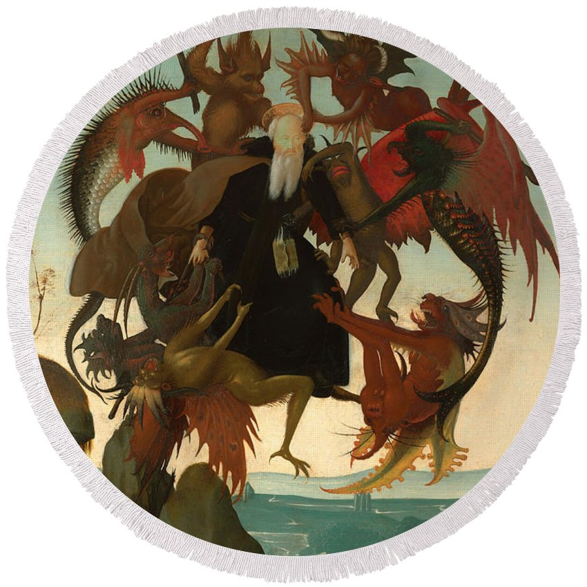 Painting Round Beach Towel featuring the painting The Torment Of Saint Anthony by Mountain Dreams