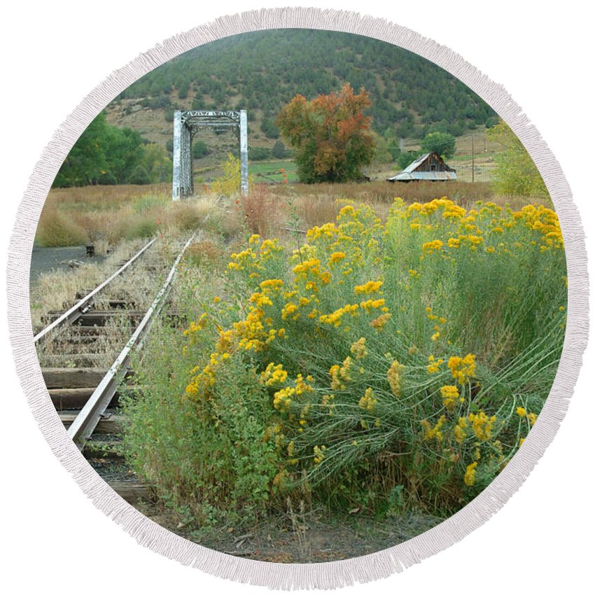 Train Round Beach Towel featuring the photograph The Tracks At Pagosa Junction by Jerry McElroy