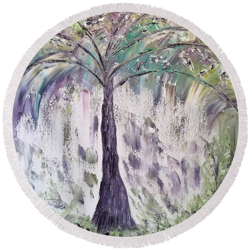 Landscape Round Beach Towel featuring the painting The Tree Of Life II by Donna Painter