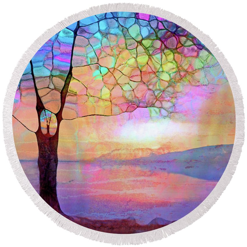 Tree Round Beach Towel featuring the digital art The Tree That Understands by Tara Turner