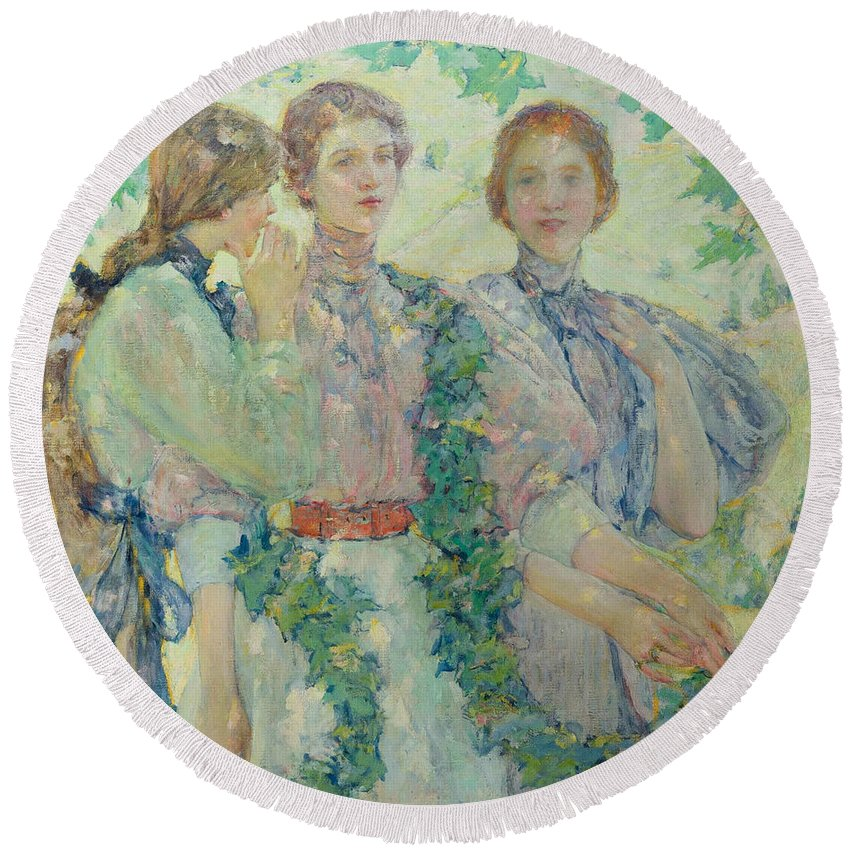 American Artist Round Beach Towel featuring the painting The Trio by Robert Reid