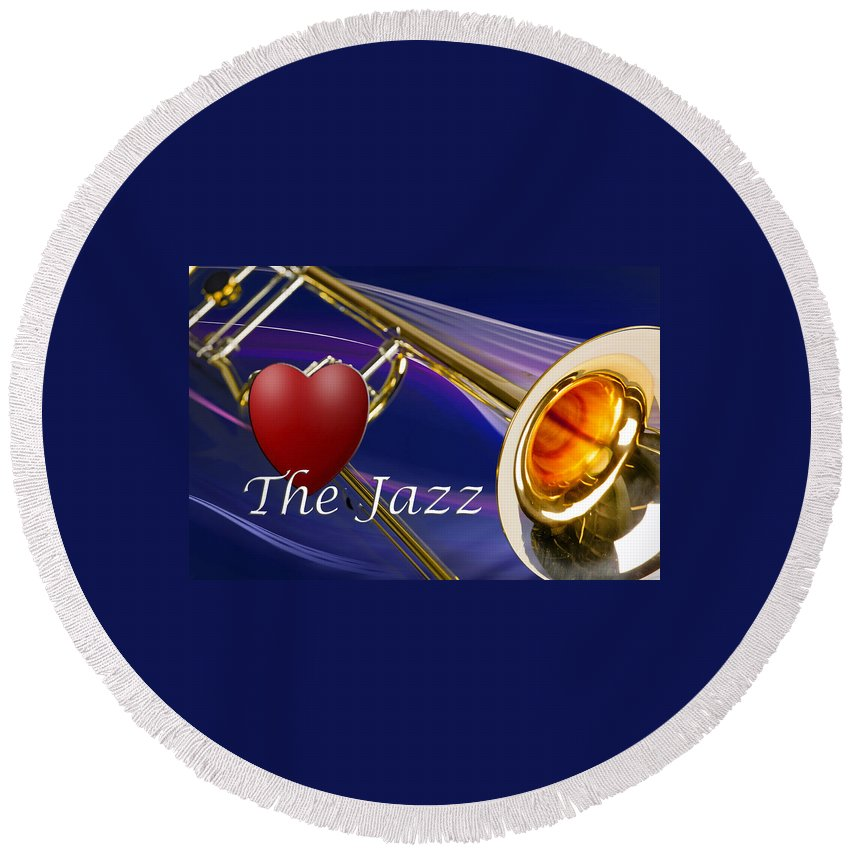 Trombone Round Beach Towel featuring the photograph The Trombone Jazz 001 by M K Miller