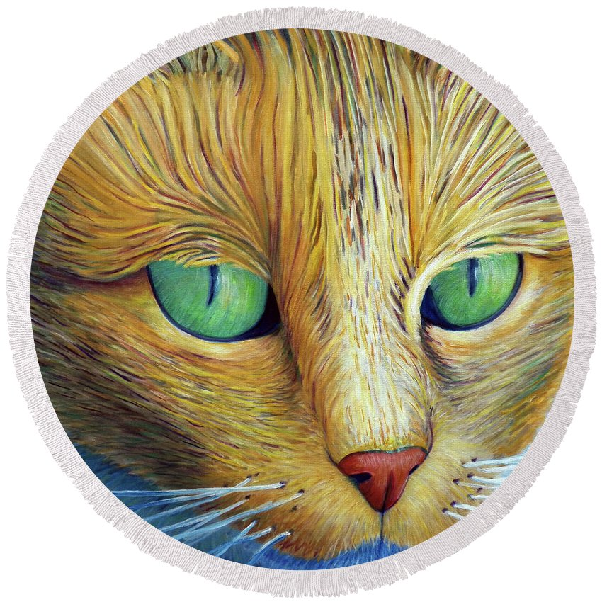 Cat Round Beach Towel featuring the painting The Truth Be Told by Brian Commerford