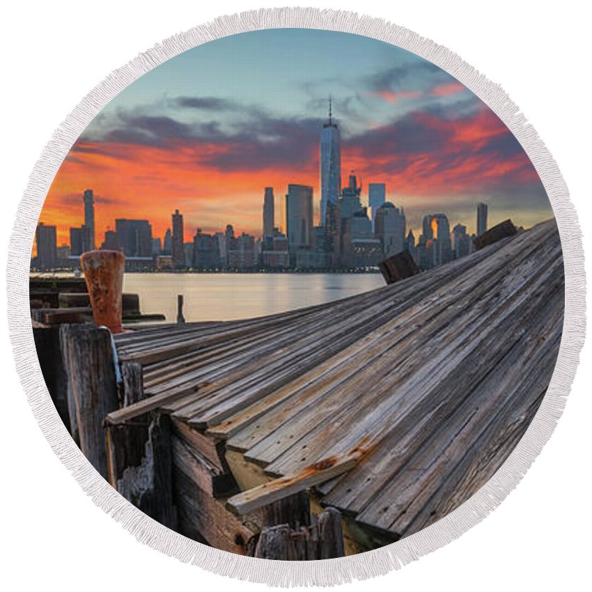 Twisted Pier Round Beach Towel featuring the photograph The Twisted Pier Panorama by Michael Ver Sprill