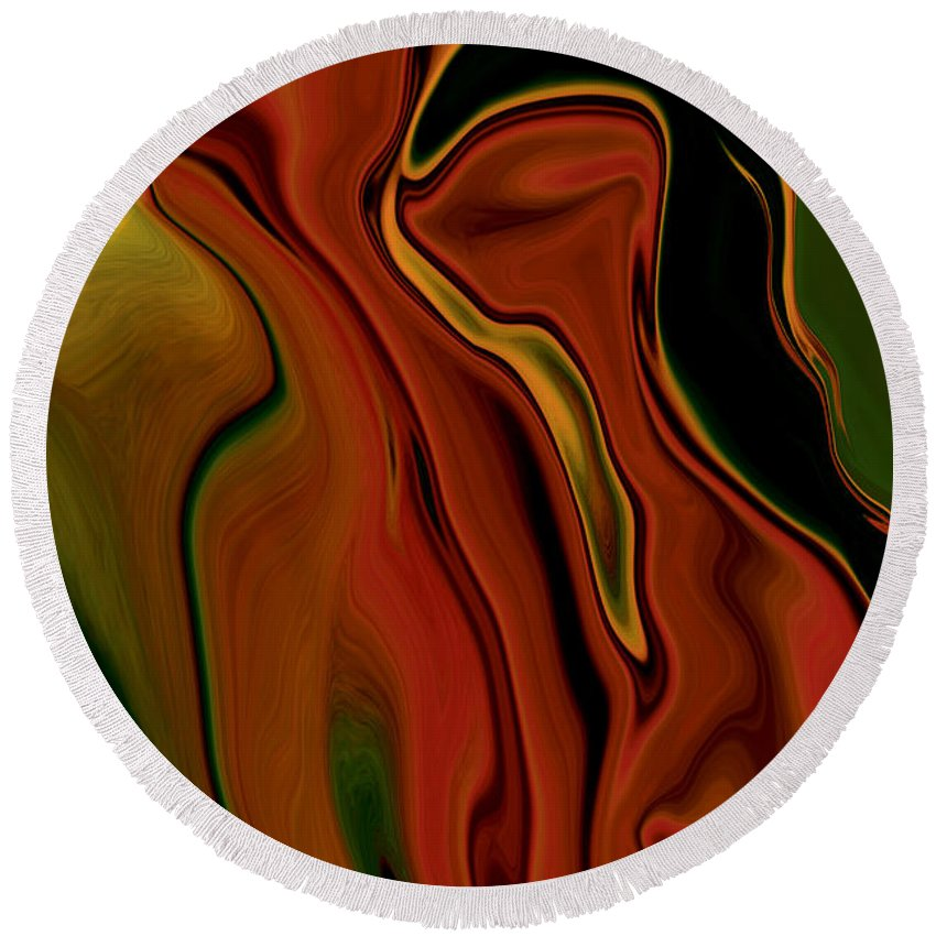 Abstract Round Beach Towel featuring the digital art The Two by Rabi Khan