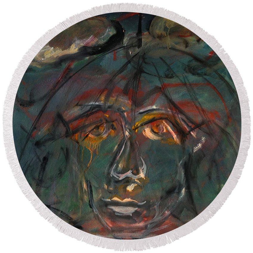 Katt Yanda Original Art Face Oil Painting Canvas Rain Umbrella Sad Thoughtful Pensive Round Beach Towel featuring the painting The Umbrella by Katt Yanda