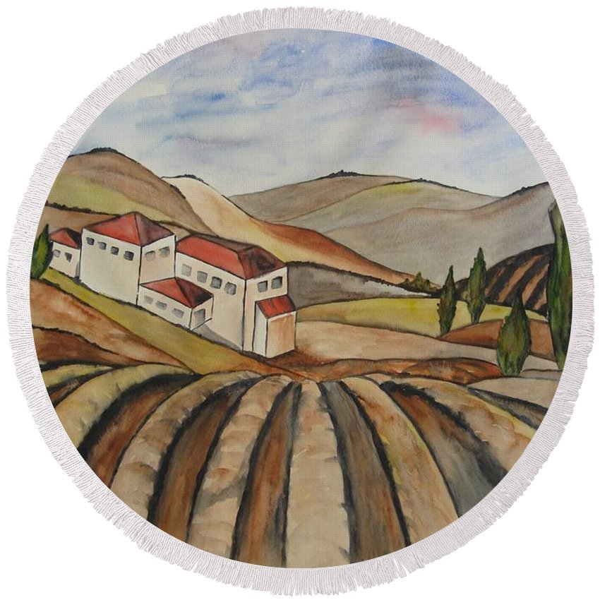 Watercolor Round Beach Towel featuring the painting The Valley Of Jesrael by Guri Stark