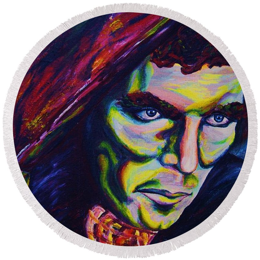Portraits Round Beach Towel featuring the painting The Vampire Lestat by Carole Spandau