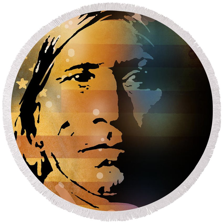 Native American Round Beach Towel featuring the painting The Vanishing American by Paul Sachtleben