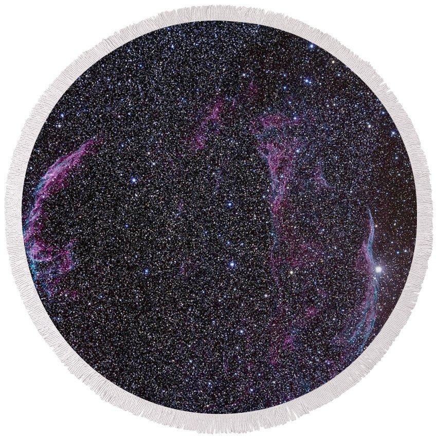52 Cygni Round Beach Towel featuring the photograph The Veil Nebula by Alan Dyer