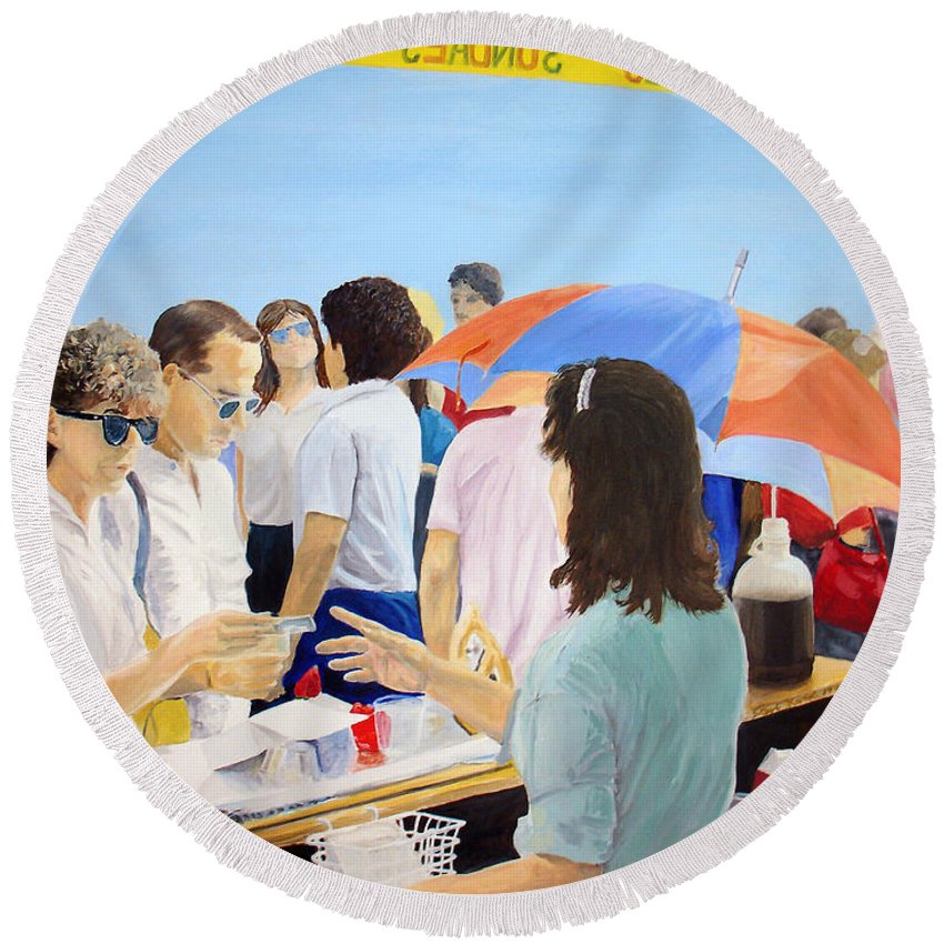 People Round Beach Towel featuring the painting The Vendor by Steve Karol