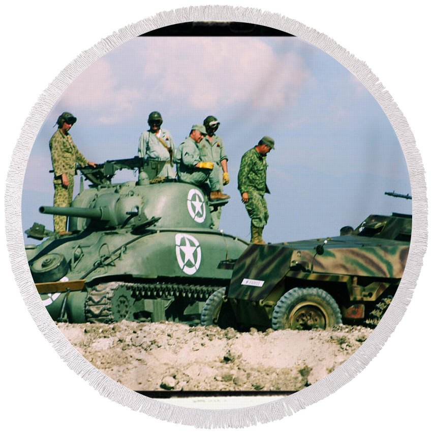 M-4 Sherman Round Beach Towel featuring the photograph The Victors by Tommy Anderson