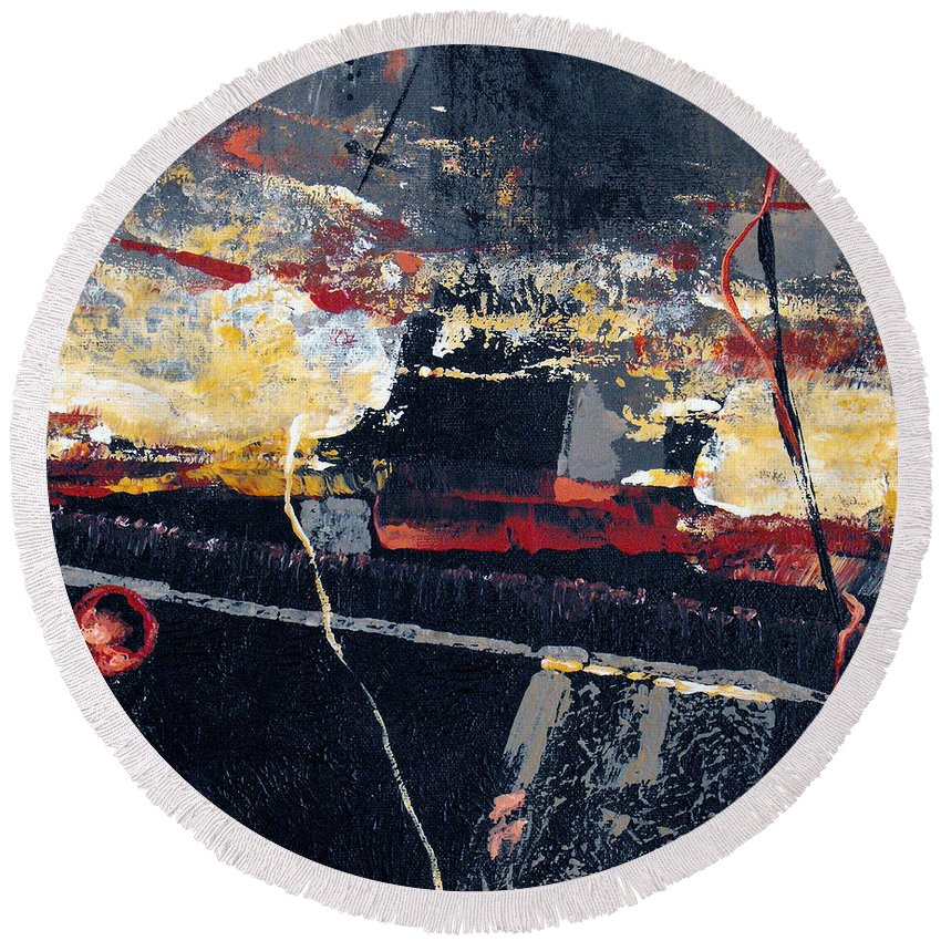 Abstract Round Beach Towel featuring the painting The View by Ruth Palmer