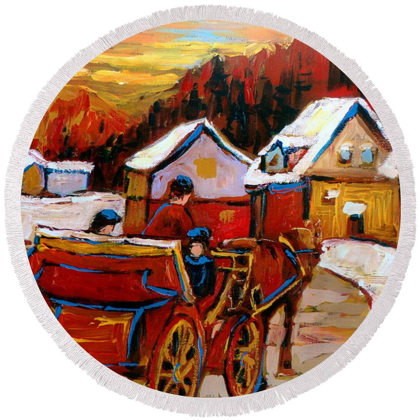 Saint Jerome Round Beach Towel featuring the painting The Village Of Saint Jerome by Carole Spandau