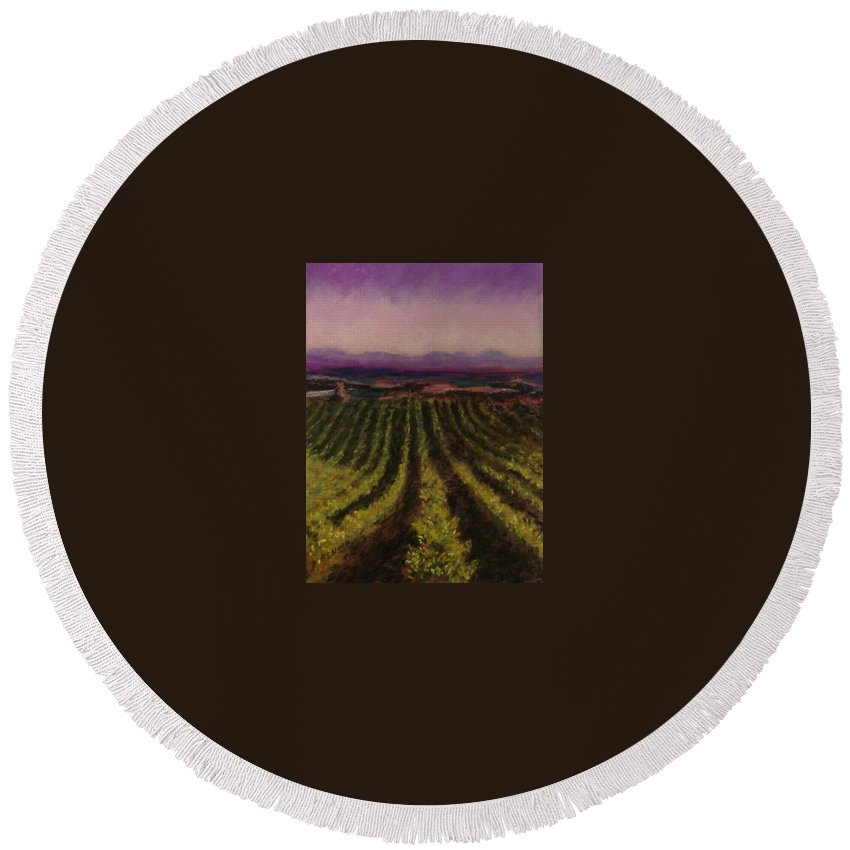 Landscape Round Beach Towel featuring the pastel The Vineyard by Pat Snook