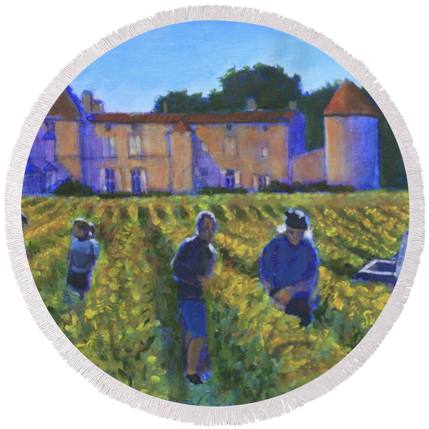 Vineyard Round Beach Towel featuring the painting The Vintage by David Zimmerman