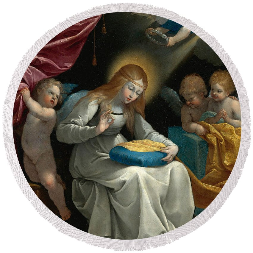 Guido Reni Round Beach Towel featuring the painting The Virgin Sewing Accompanied By Four Angels. La Couseuse by Guido Reni