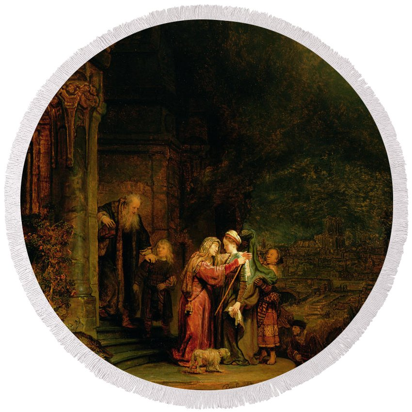 The Round Beach Towel featuring the painting The Visitation by Rembrandt Harmensz van Rijn