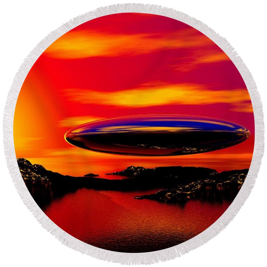 T Round Beach Towel featuring the digital art The Visitor by David Lane