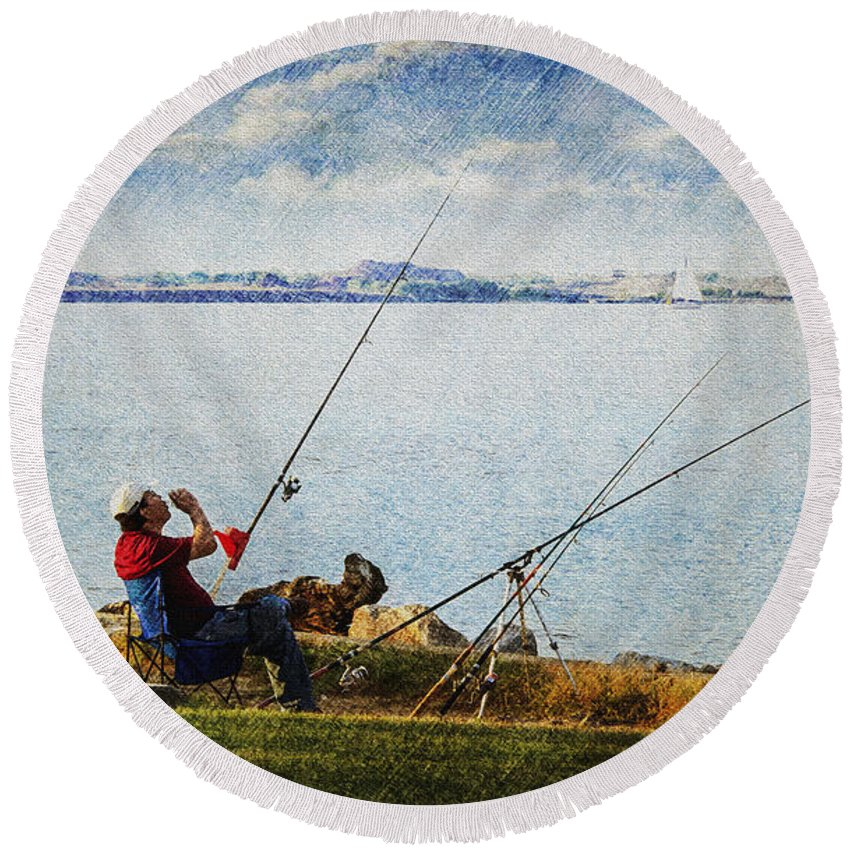 2d Round Beach Towel featuring the photograph The Wait by Brian Wallace