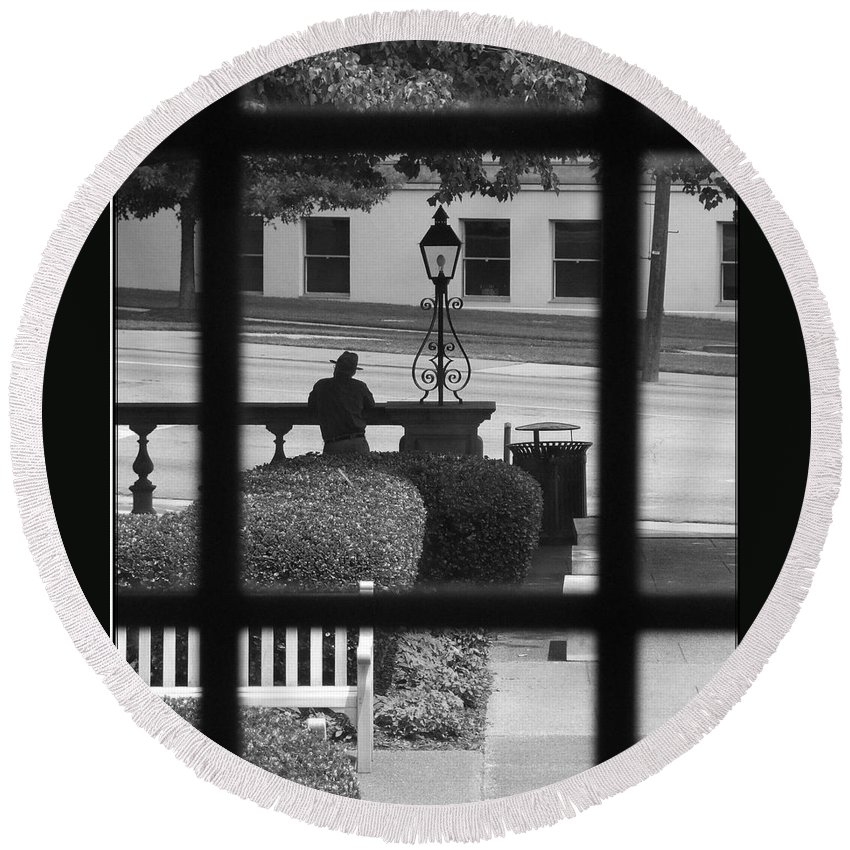Black And White Round Beach Towel featuring the photograph The Waiting Room by Robert Meanor