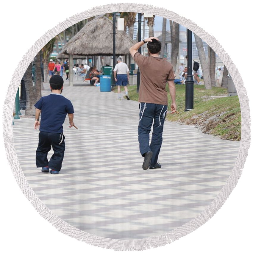 Man Round Beach Towel featuring the photograph The Walk by Rob Hans