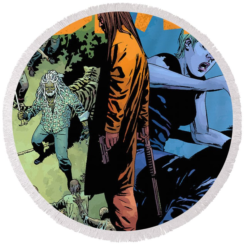 Comics Round Beach Towel featuring the digital art The Walking Dead - Now Or Never by Don Kuing