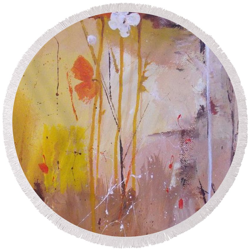 Abstract Round Beach Towel featuring the painting The Wallflowers by Ruth Palmer