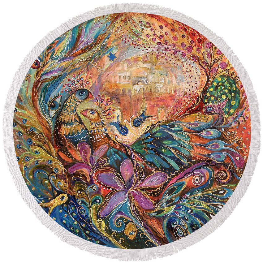 Original Round Beach Towel featuring the painting The Walls Of Zefat by Elena Kotliarker
