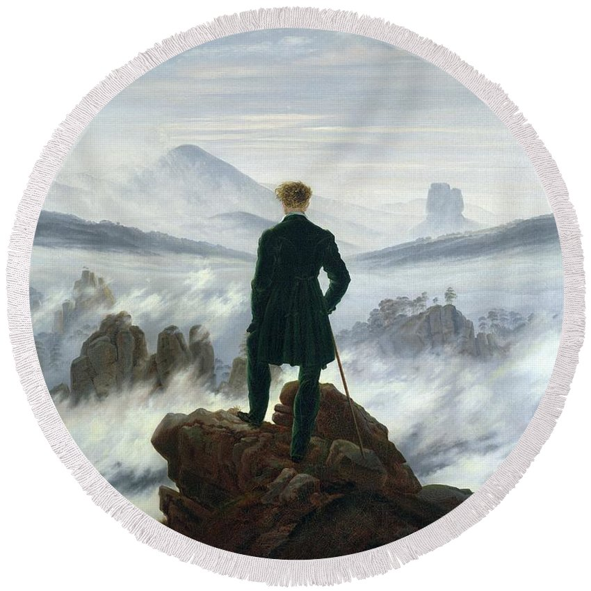The Round Beach Towel featuring the painting The Wanderer Above The Sea Of Fog by Caspar David Friedrich
