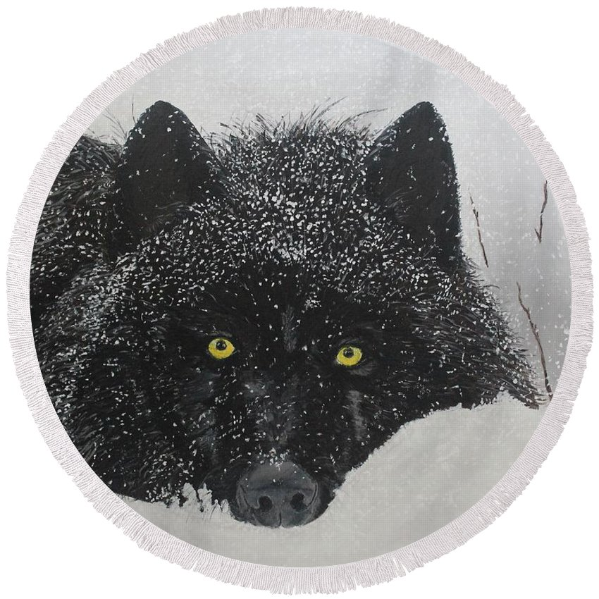 Animal Round Beach Towel featuring the painting The Watcher by Susan Drake