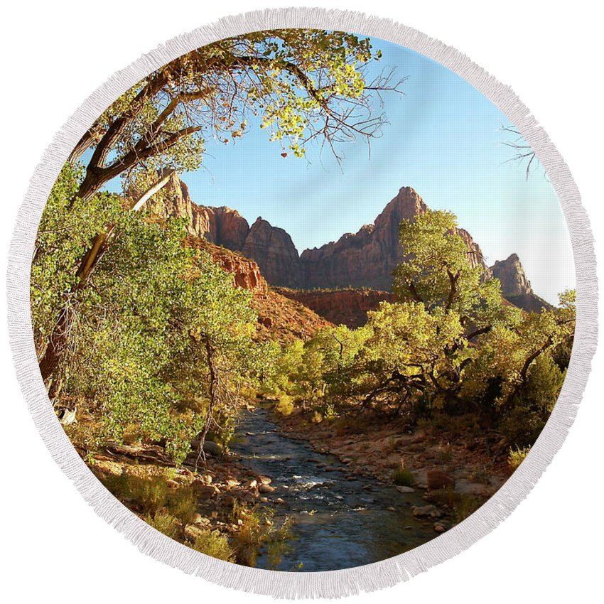 Landscape Round Beach Towel featuring the photograph The Watchman by Alex Cassels
