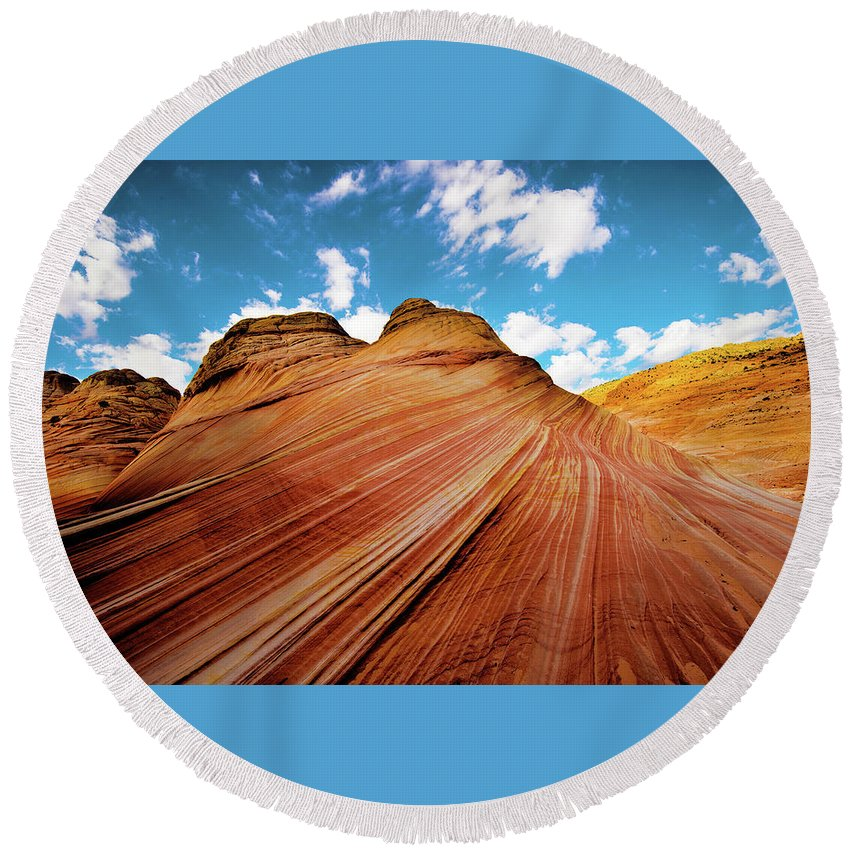 The Wave Round Beach Towel featuring the photograph The Wave Arizona Rocks by Norman Hall